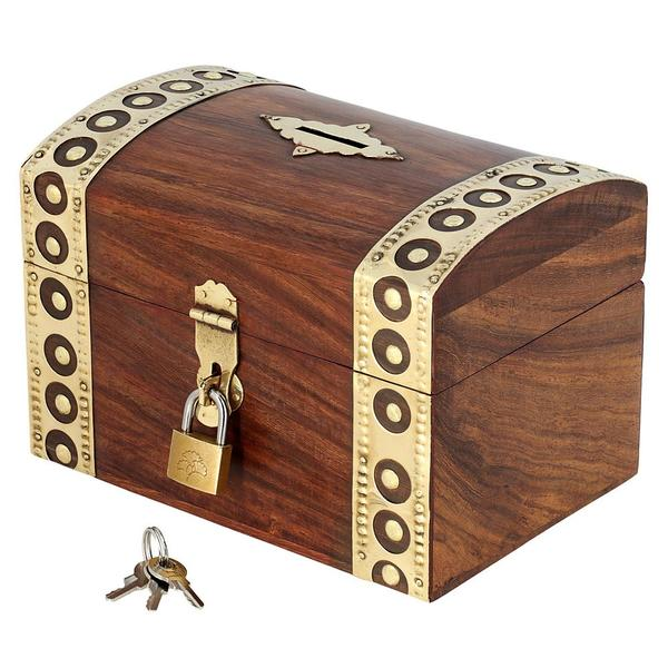 Antique Inspired Handcrafted Wooden Treasure Chest Money Box With Padlock And Key